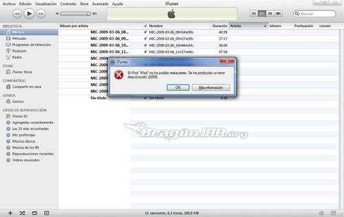 1.ErroriPodTouch Jailbreack al iPhone, iPod Touch con Firmware 4.1 y error al Restaurar