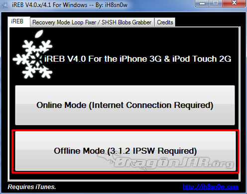 2.DowngradeiReb Jailbreack al iPhone, iPod Touch con Firmware 4.1 y error al Restaurar