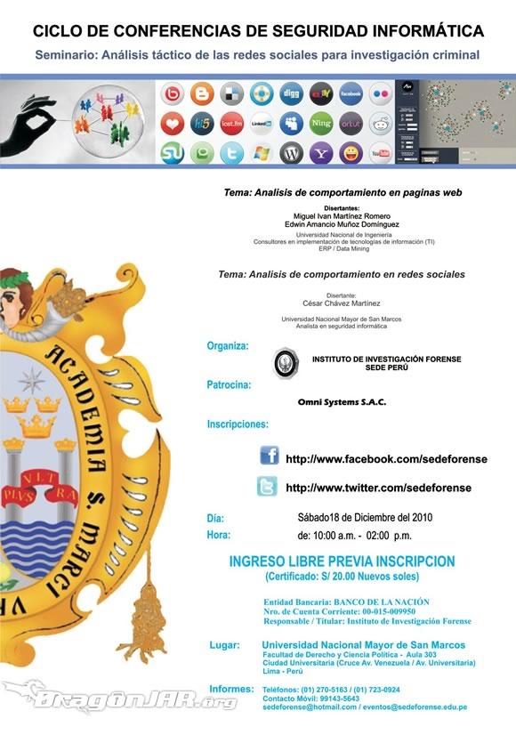RedesSocialesInvestigacion Seminarios de Seguridad Informatica Gratis en Perú