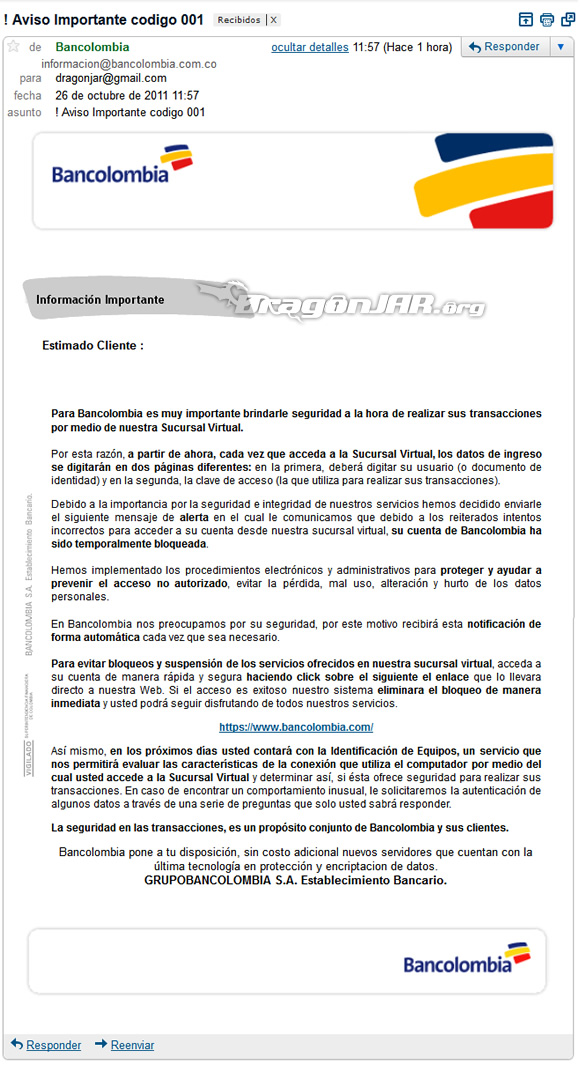 Phishing Bancolombia 1 Phishing a Bancolombia muy real