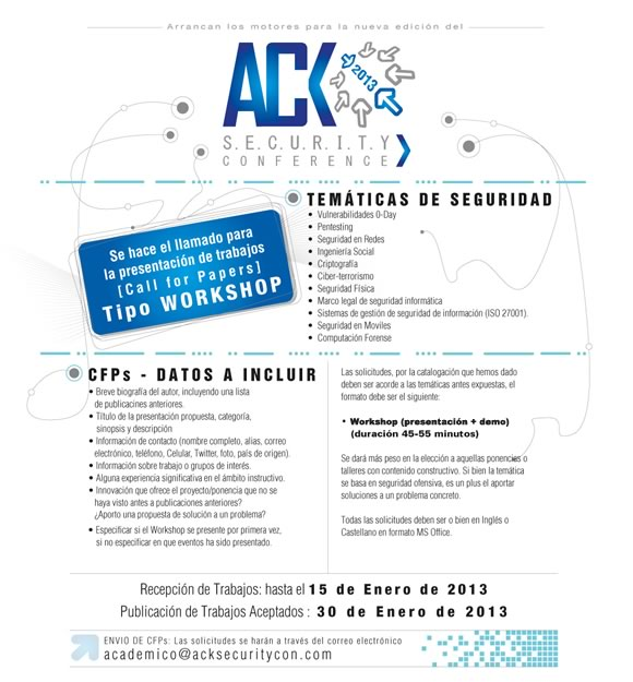 ACK Security CFPx Finaliza el CFP del ACK Security Conference 2013