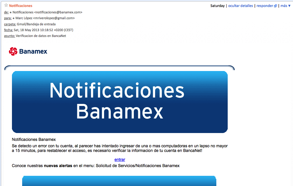 Analizando un correo de SPAM